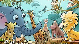 Preview wallpaper animals, cartoon, drawing
