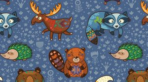 Preview wallpaper animals, pattern, colorful, vector