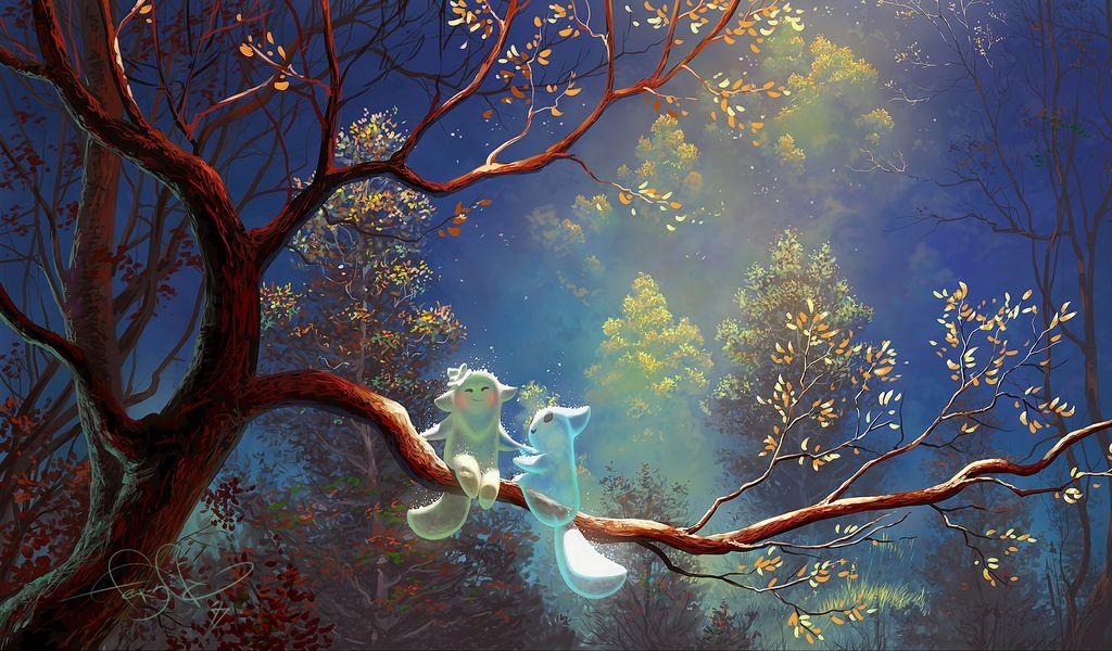 1024x600 Wallpaper animals, tree, branch, magic, art, fantasy