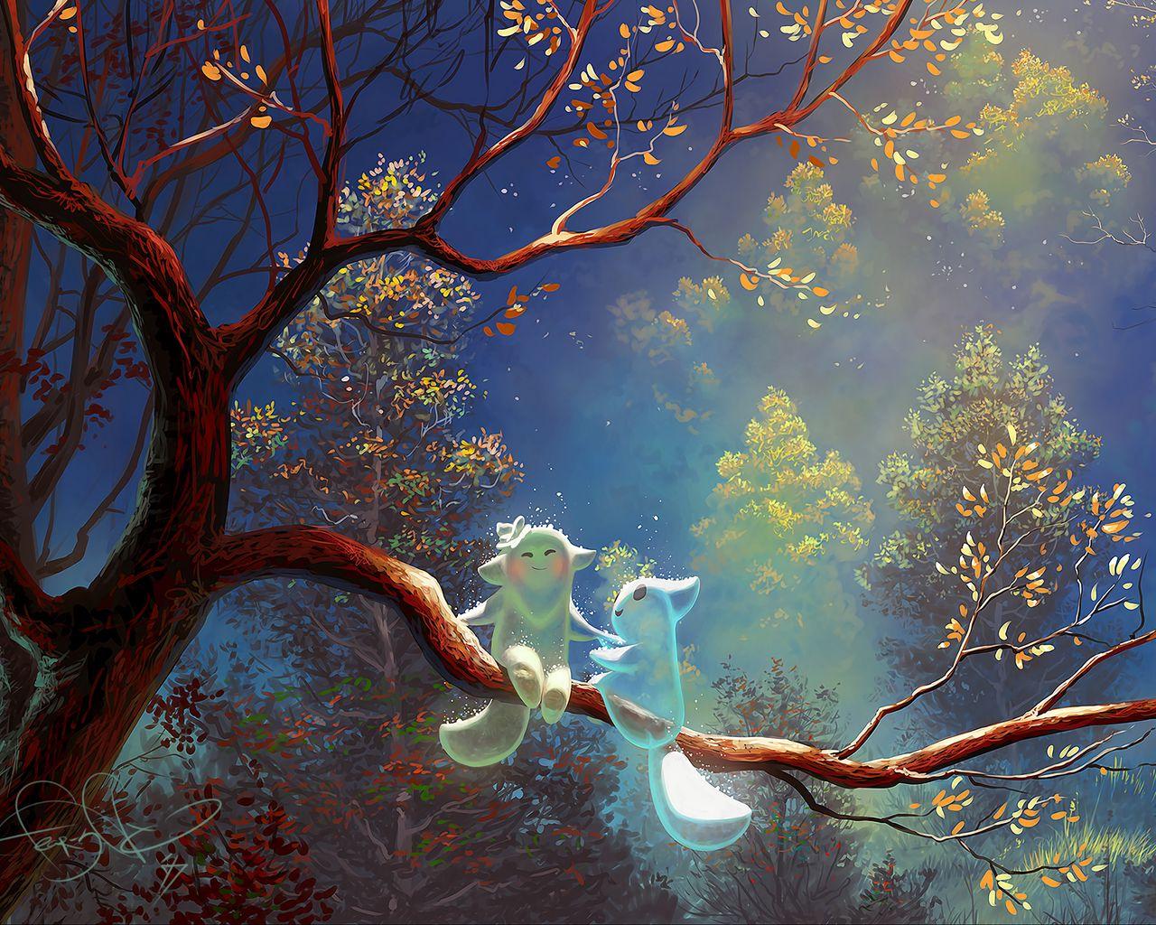 1280x1024 Wallpaper animals, tree, branch, magic, art, fantasy