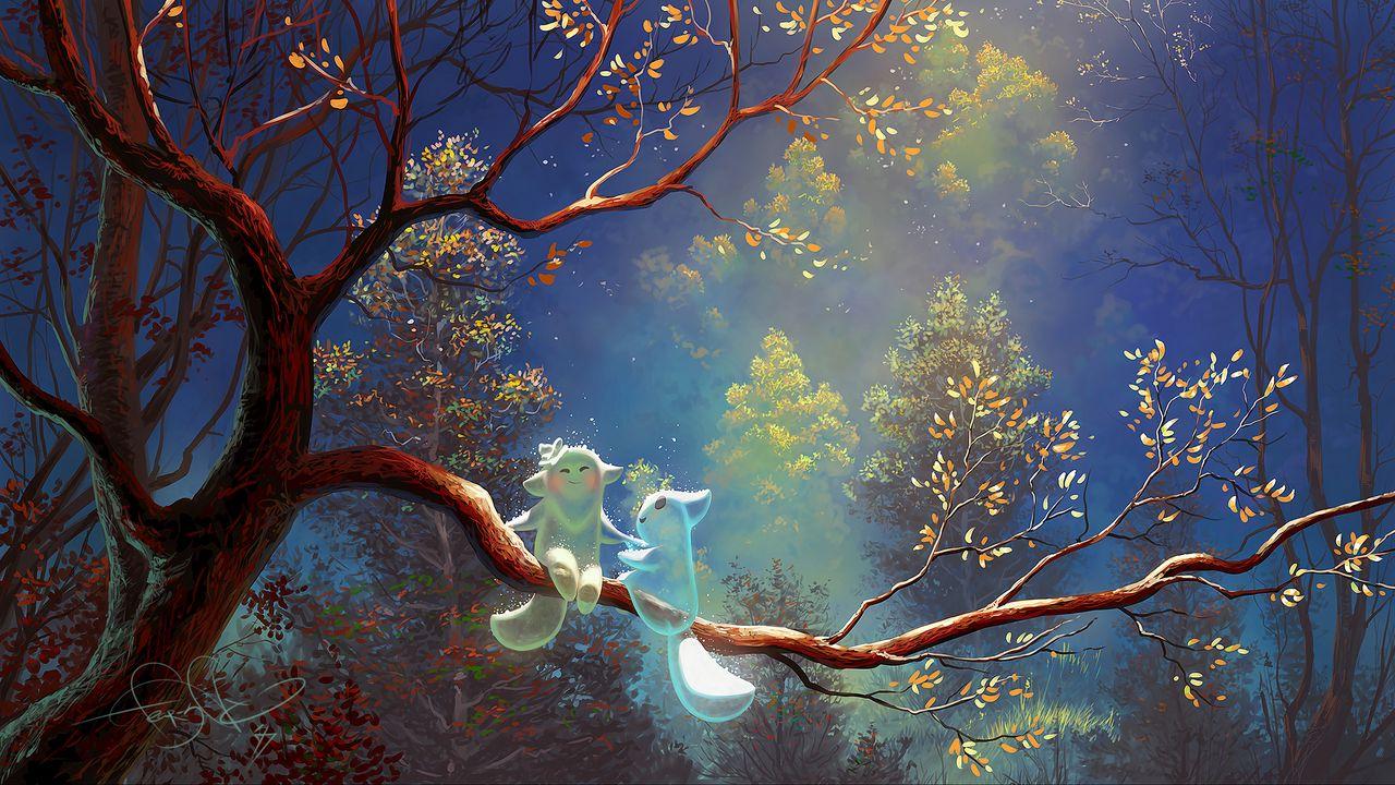 1280x720 Wallpaper animals, tree, branch, magic, art, fantasy