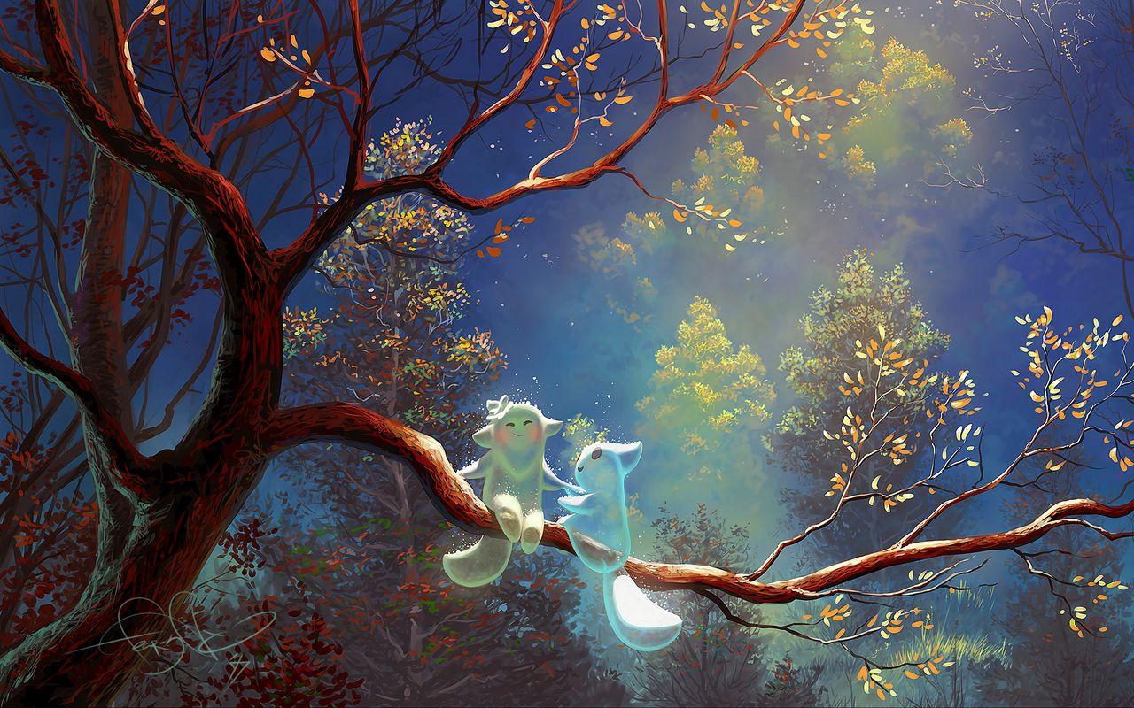 1280x800 Wallpaper animals, tree, branch, magic, art, fantasy
