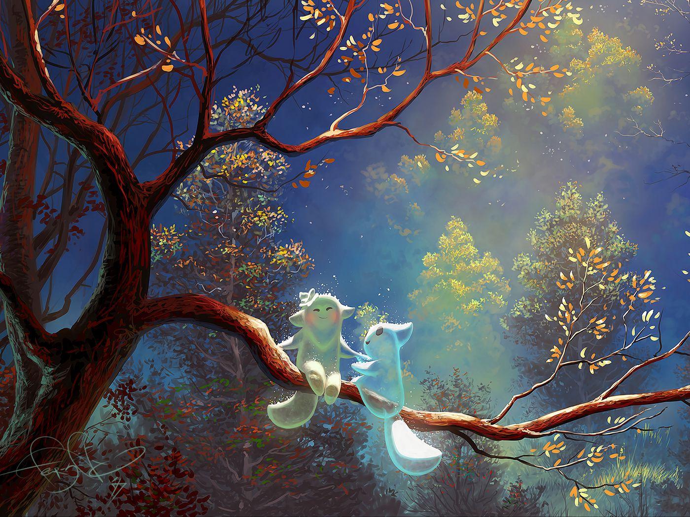 1400x1050 Wallpaper animals, tree, branch, magic, art, fantasy