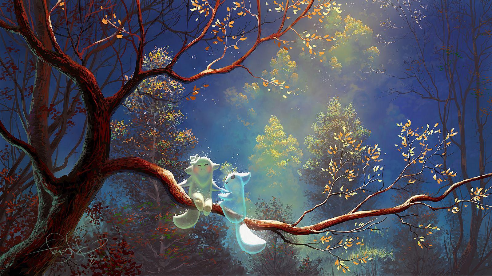 1600x900 Wallpaper animals, tree, branch, magic, art, fantasy