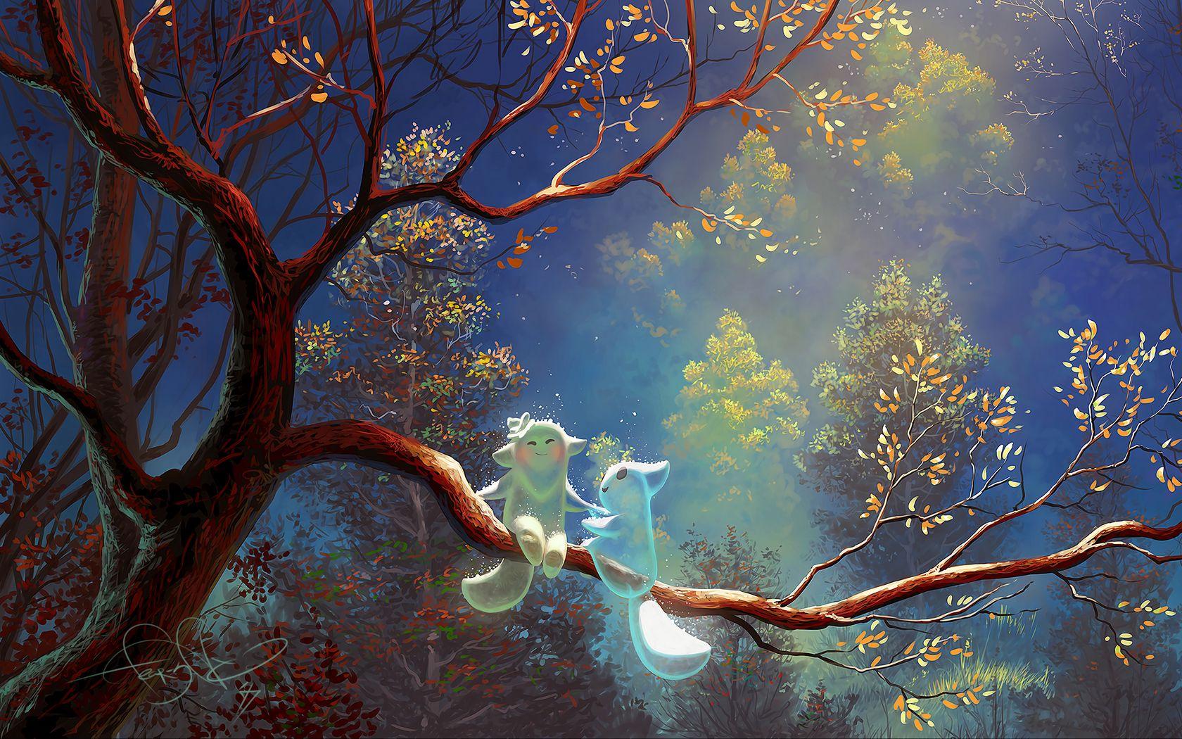 1680x1050 Wallpaper animals, tree, branch, magic, art, fantasy