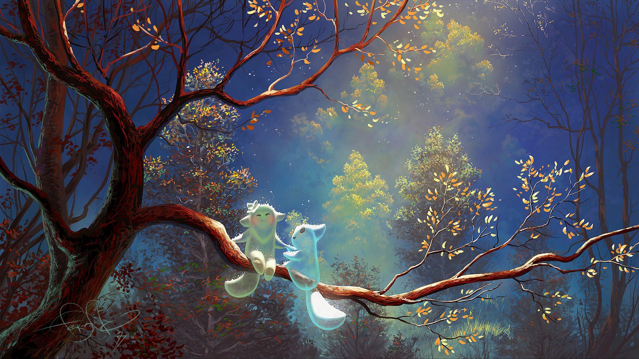 2048x1152 Wallpaper animals, tree, branch, magic, art, fantasy