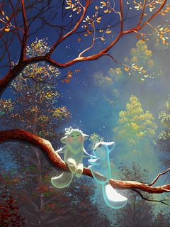 240x320 Wallpaper animals, tree, branch, magic, art, fantasy