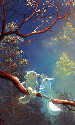 240x400 Wallpaper animals, tree, branch, magic, art, fantasy