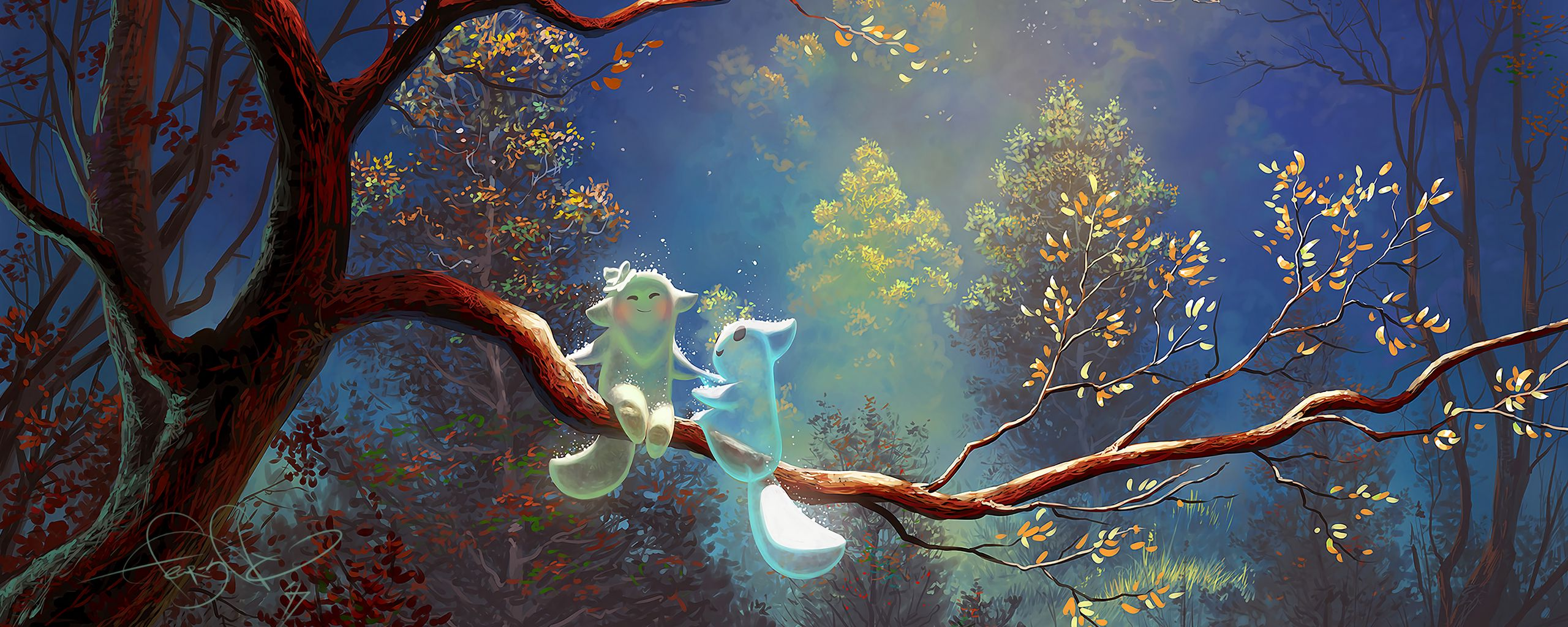 2560x1024 Wallpaper animals, tree, branch, magic, art, fantasy