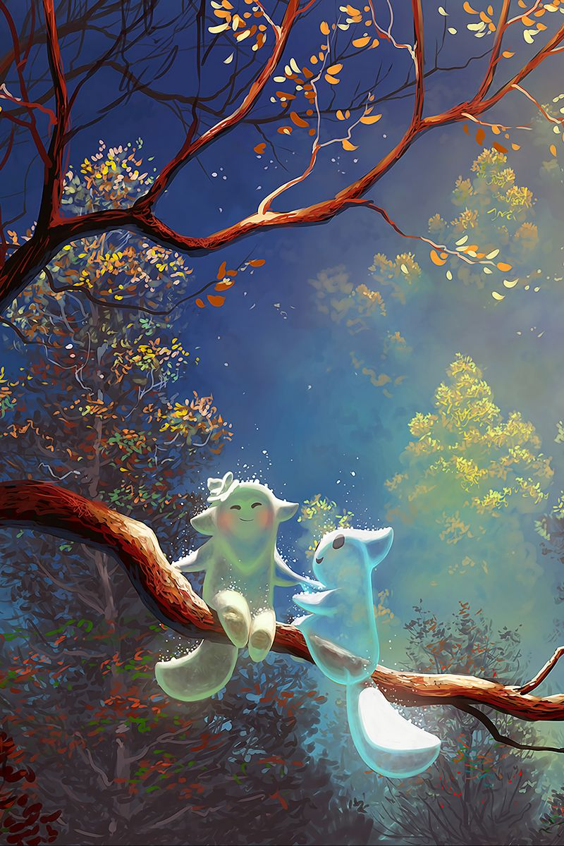 800x1200 Wallpaper animals, tree, branch, magic, art, fantasy