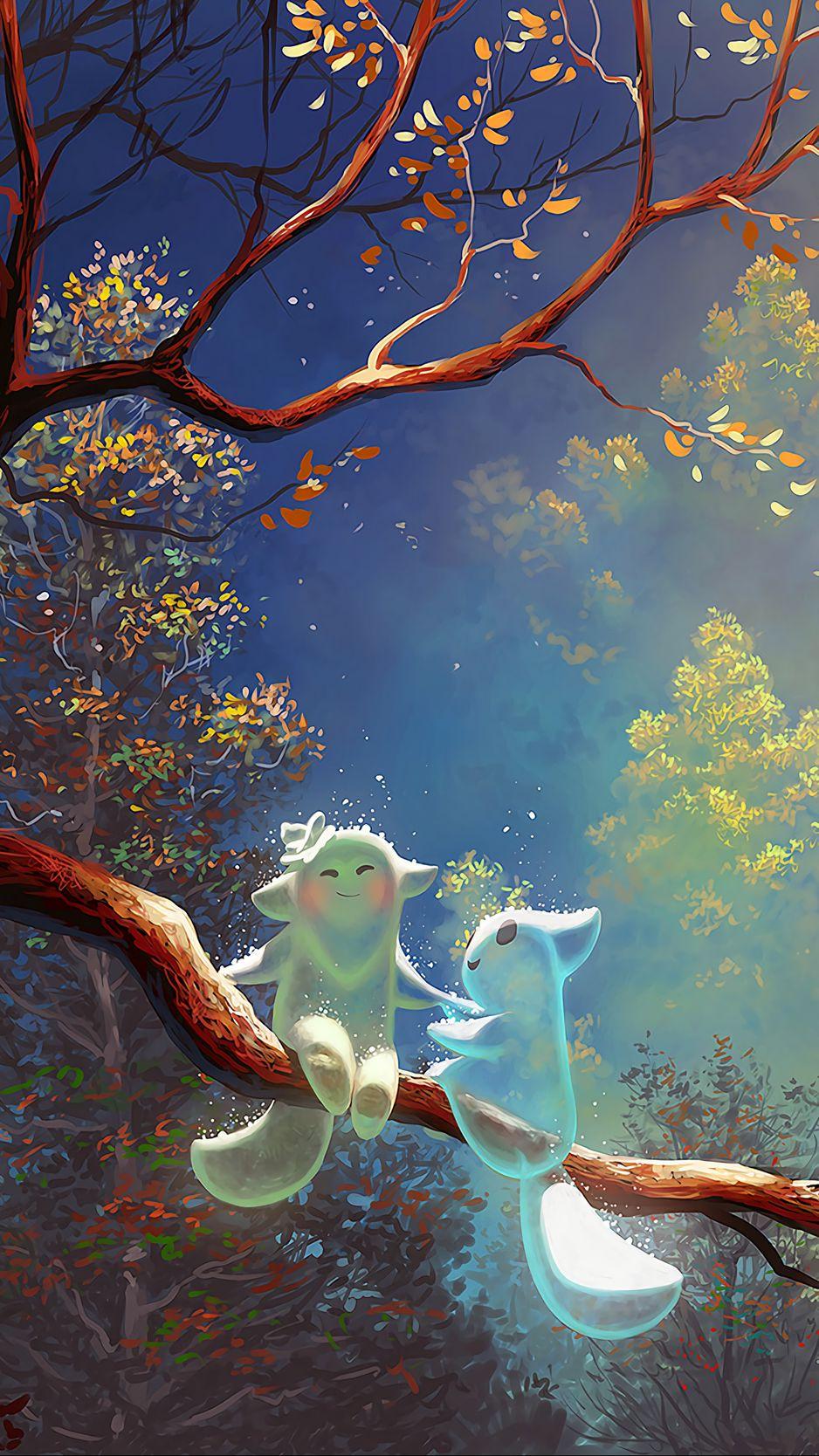938x1668 Wallpaper animals, tree, branch, magic, art, fantasy