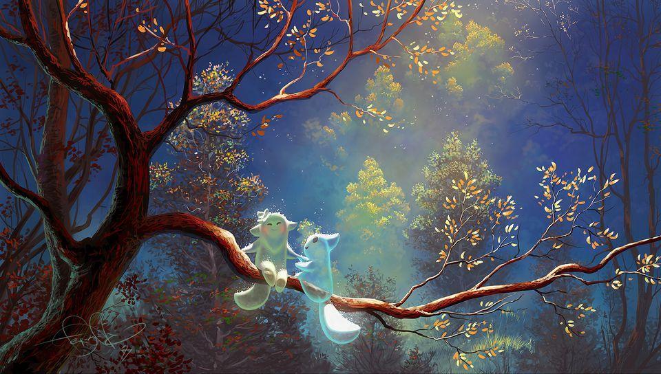 960x544 Wallpaper animals, tree, branch, magic, art, fantasy