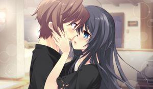 Preview wallpaper anime, boy, girl, tenderness, kiss, room