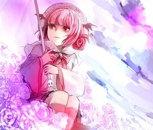 Preview wallpaper anime, girl, art, umbrella, flowers, pink