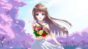 Preview wallpaper anime, girl, brunette, flowers, bouquet, joy