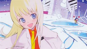 Preview wallpaper anime, girl, cartoon, doctor, gown, running