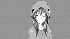Preview wallpaper anime, girl, graphic, hat, black white