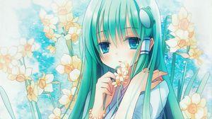 Preview wallpaper anime, girl, hair, long, flower, narcissus, eye