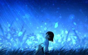 Preview wallpaper anime, girl, leaves, wind
