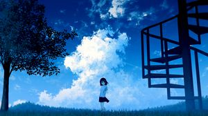 Preview wallpaper anime, girl, sky, clouds