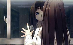 Preview wallpaper anime girl, window, reflection, drop, rain, look