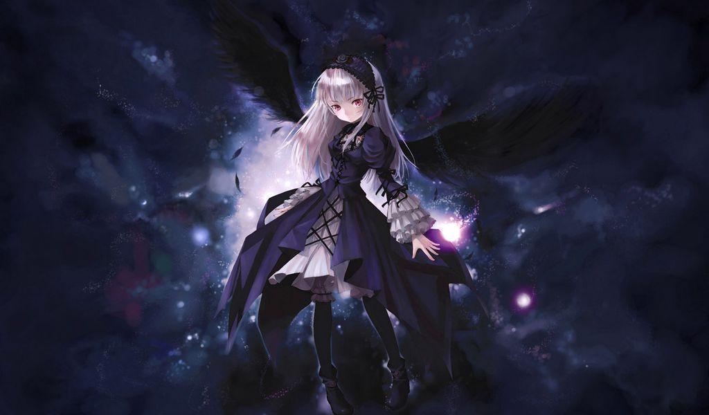 1024x600 Wallpaper anime, girl, wings, flying, black