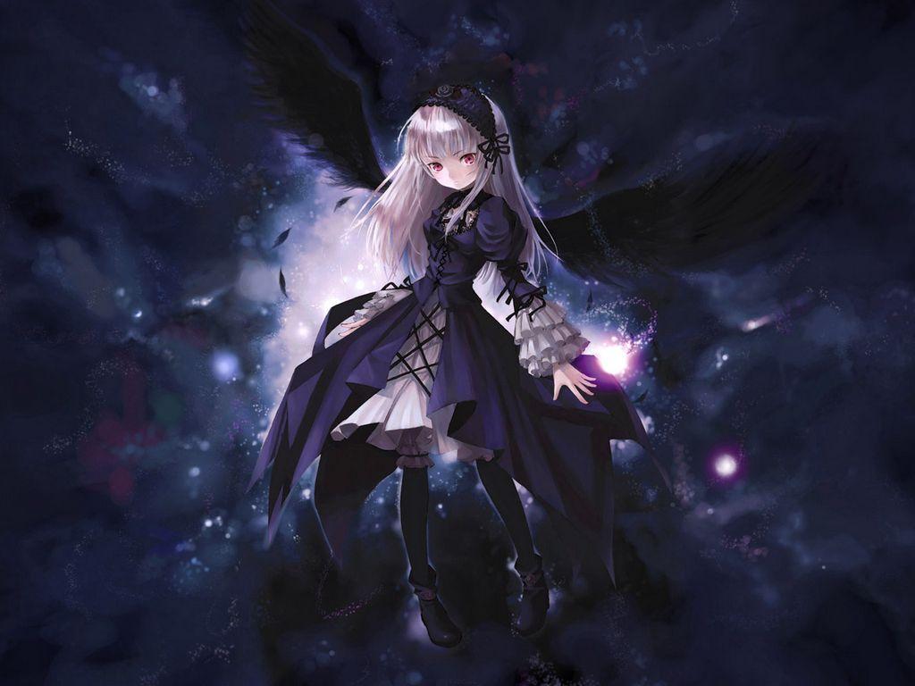 1024x768 Wallpaper anime, girl, wings, flying, black