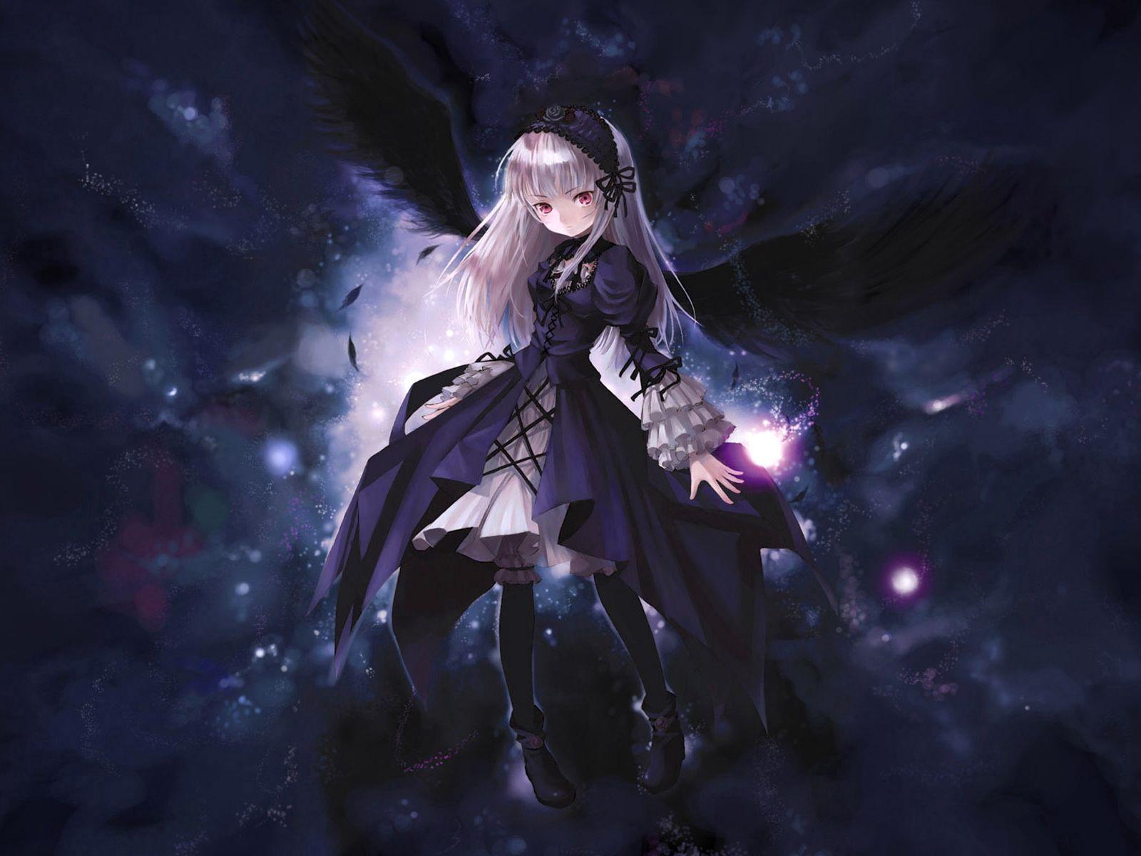 1600x1200 Wallpaper anime, girl, wings, flying, black