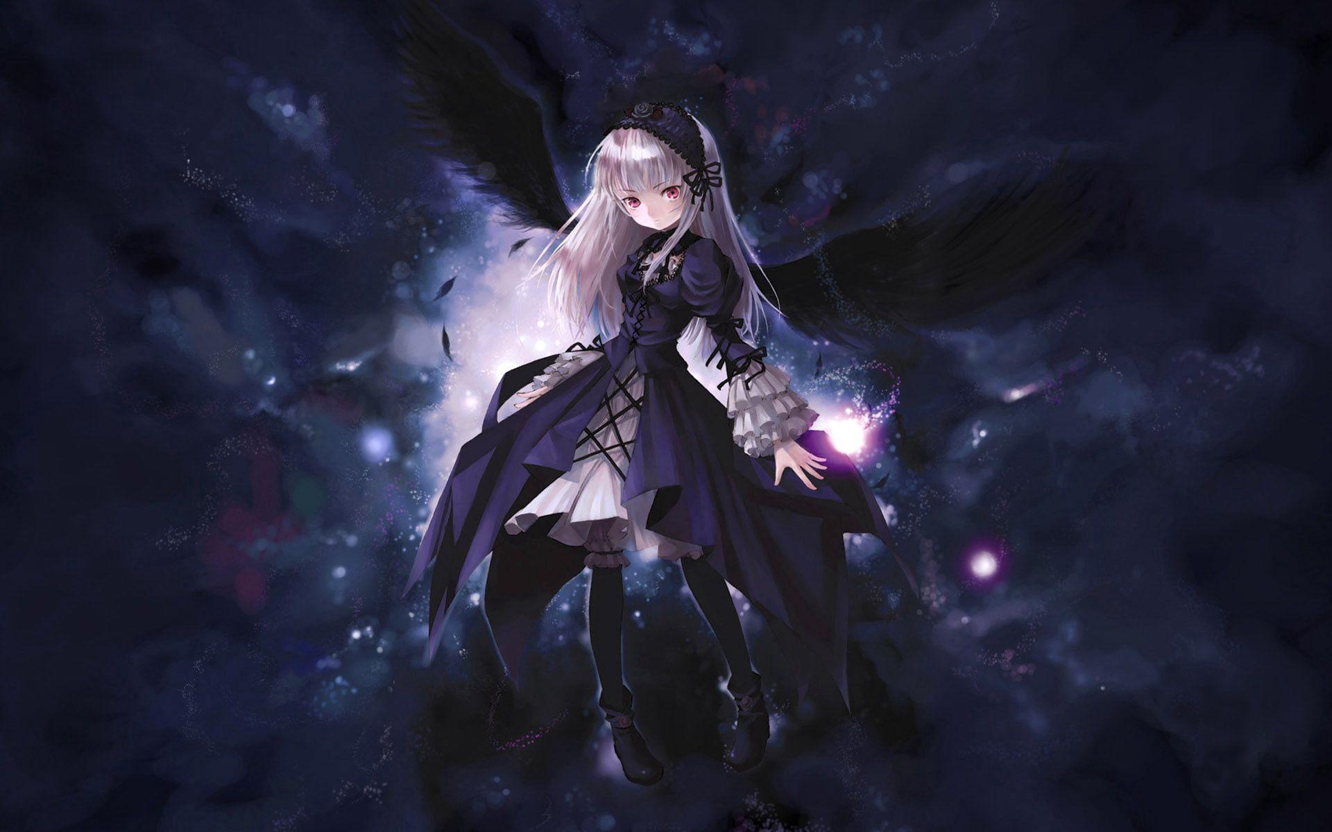 1920x1200 Wallpaper anime, girl, wings, flying, black