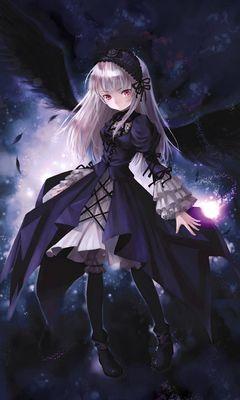 240x400 Wallpaper anime, girl, wings, flying, black
