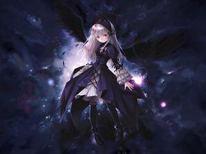 Preview wallpaper anime, girl, wings, flying, black