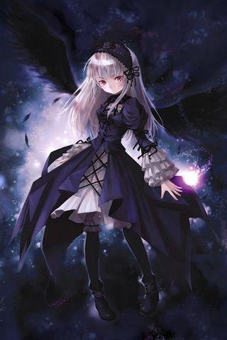 320x480 Wallpaper anime, girl, wings, flying, black