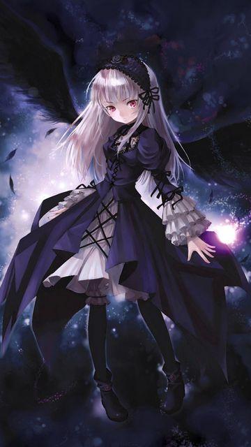360x640 Wallpaper anime, girl, wings, flying, black