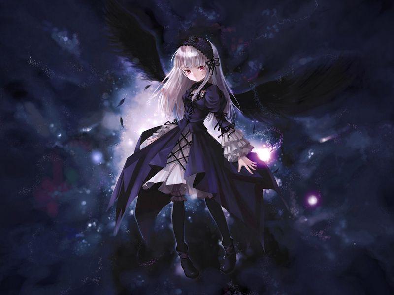 800x600 Wallpaper anime, girl, wings, flying, black