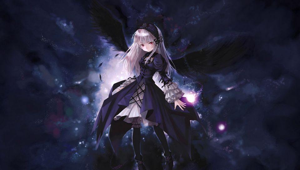 960x544 Wallpaper anime, girl, wings, flying, black