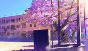Preview wallpaper anime, school, winter street