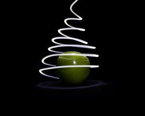 Preview wallpaper apples, light, line, freezelight, long exposure, dark