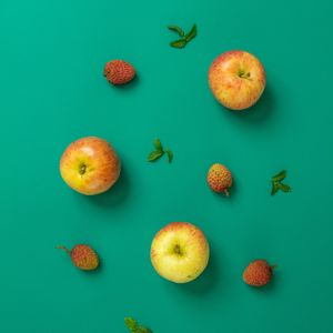 Preview wallpaper apples, strawberries, mint, fruits