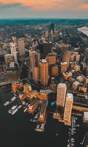 Preview wallpaper architecture, city, view from above, buildings, river