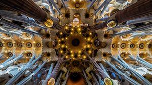 Preview wallpaper architecture, interior, modern, ceiling, columns, sagrada familia, barcelona