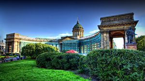 Preview wallpaper architecture, kazan, st petersburg, cathedral, decorative, garden, hdr
