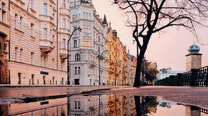 Preview wallpaper architecture, puddle, reflection, city, prague, czechia
