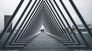 Preview wallpaper architecture, triangle, structure, people, geometric