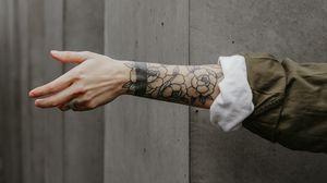 Preview wallpaper arm, tattoo, wall, minimalism