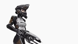 Preview wallpaper armor, helmet, girl, weapon