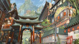 Preview wallpaper art, asia, building, mountain, bamboo, lights, waterfalls, city