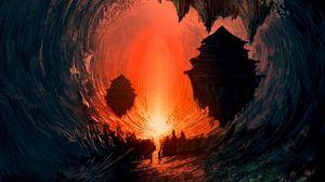 Preview wallpaper art, building, landscape, dark