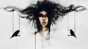 Preview wallpaper art, face, bird, fantasy, imagination