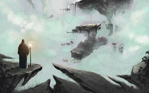 Preview wallpaper art, fantasy, parallel world, stones, wires, structures, traveler