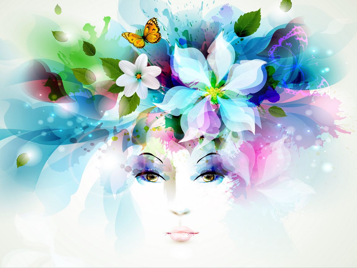 1152x864 Wallpaper art, girl, eyes, flowers, petals, butterfly, leaves, spray